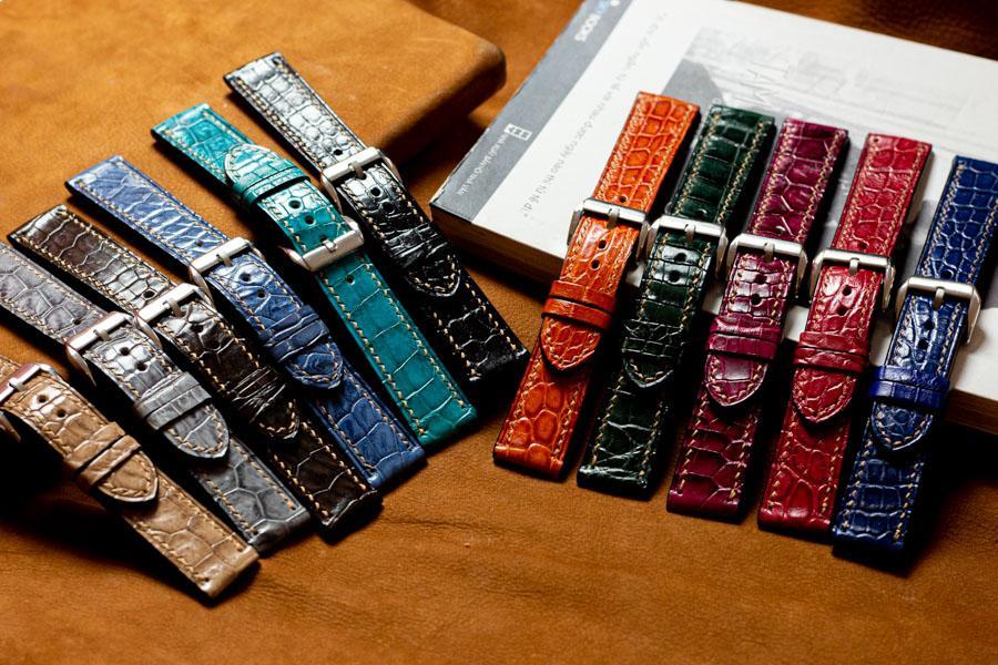 Dây đồng hồ da cá sấu handmade HBDDCS05