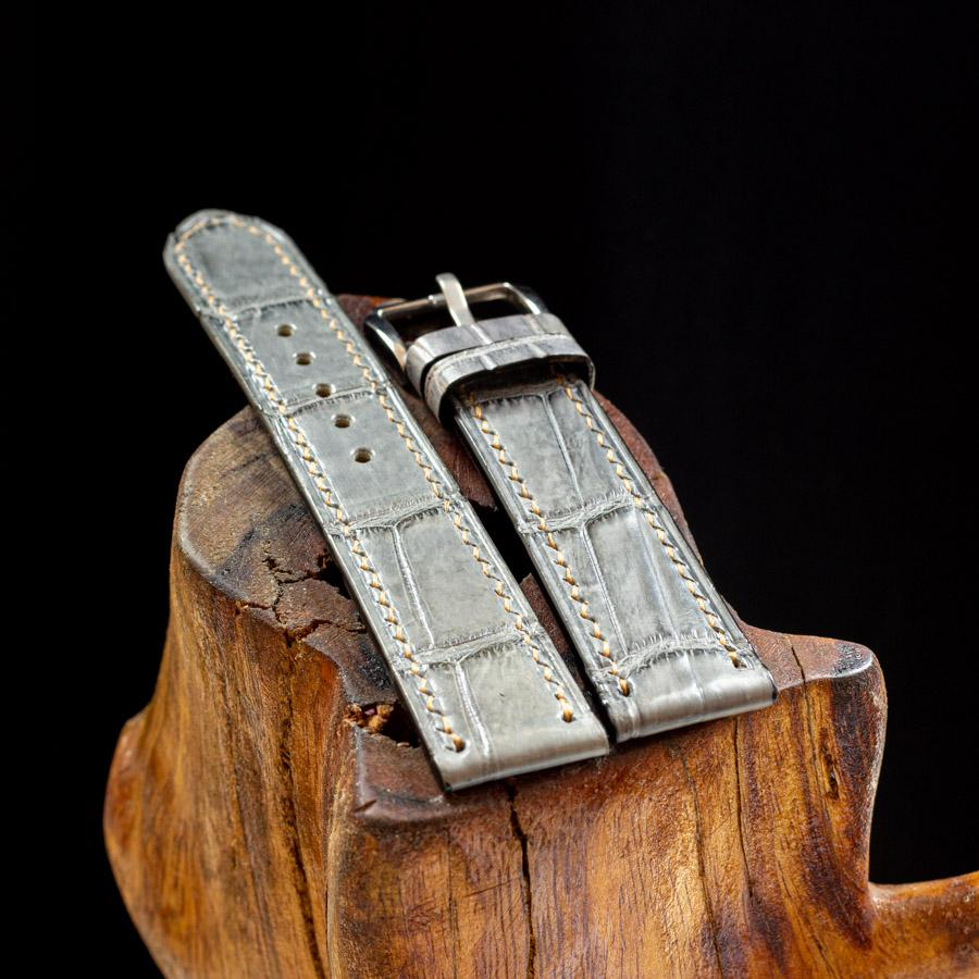 Dây đồng hồ da cá sấu handmade HBDDCS07