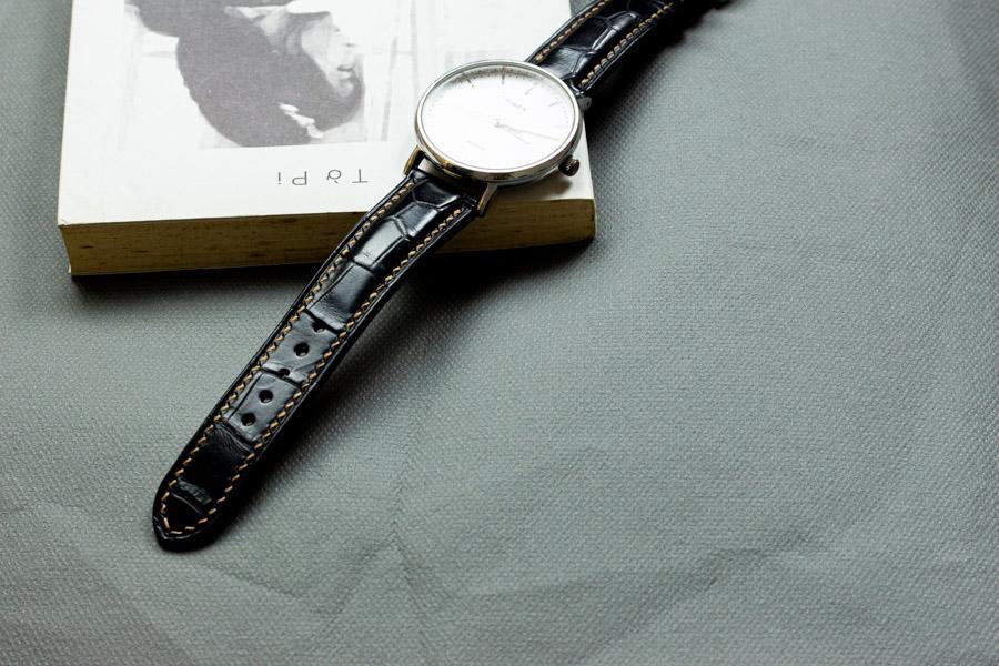 Dây đồng hồ da cá sấu handmade HBDDCS08