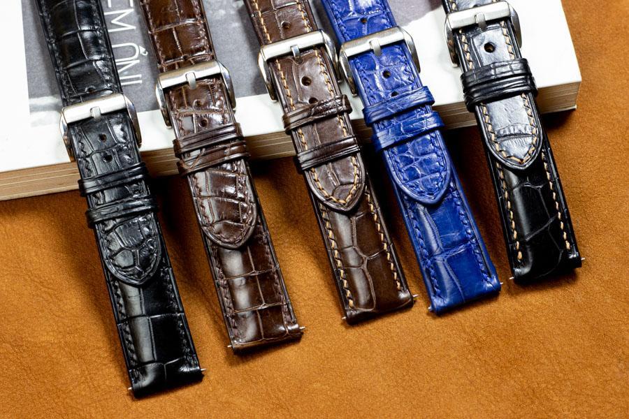 Dây đồng hồ da cá sấu handmade HBDDCS09