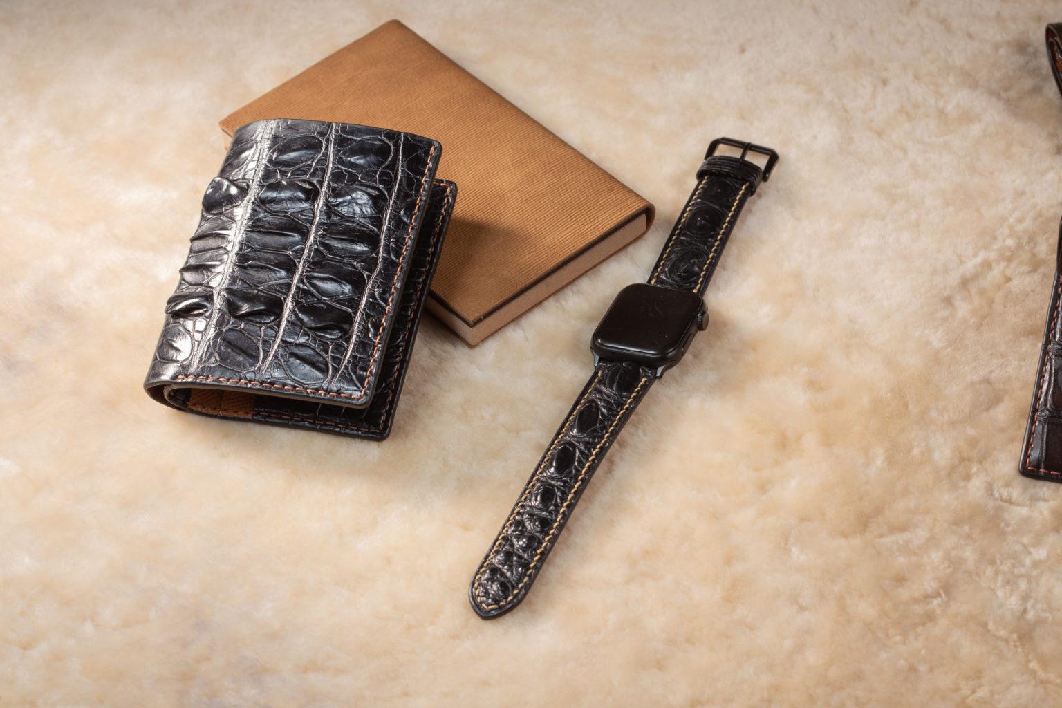 Dây đồng hồ da cá sấu handmade HBDDCS10
